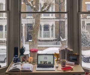 winter, books, and snow image