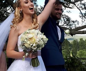bouquet, bride, and groom image