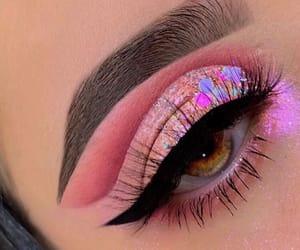 eyeliner, glitter, and lashes image