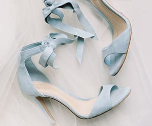 beige, blue, and high heels image