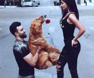 couple, dog, and rose image