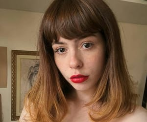 bangs, red lipstick, and retro girl image