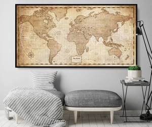 etsy, vintage map, and world map poster image