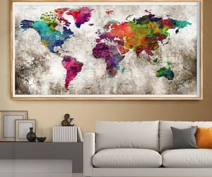 etsy, world map poster, and watercolor world map image