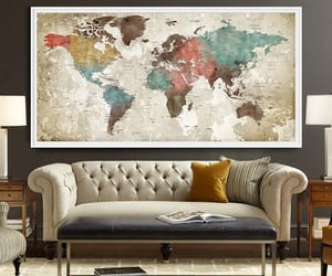 art print, wall art, and world map watercolor image