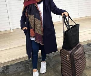 traveling bags and hijab traveling style image