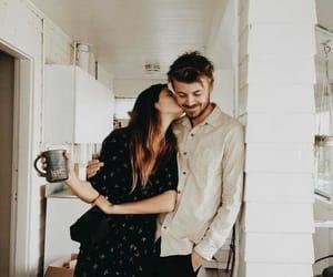 coffee, couple, and kiss image