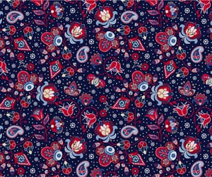 blue and red, paisley, and floral image