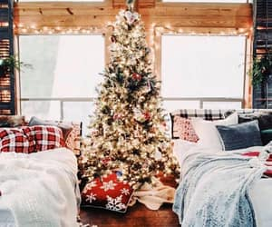 bedroom, bedroom decor, and christmas tree image