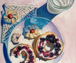 almond milk, art, and bagels image