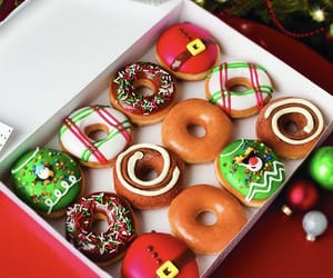 christmas, cream, and donut image