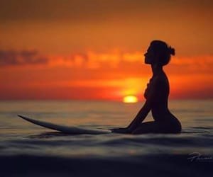 girls and sunset image