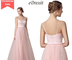 evening dress, lace, and pink image