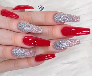 glitter, nails, and red image