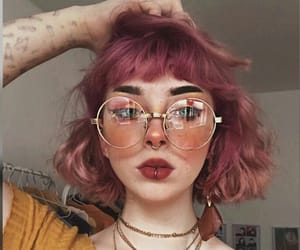 beauty, girl, and pink hair image
