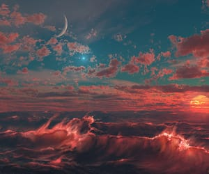 sky, moon, and sun image