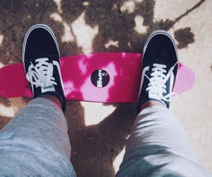 Chick, sweatpants, and skateboarding image
