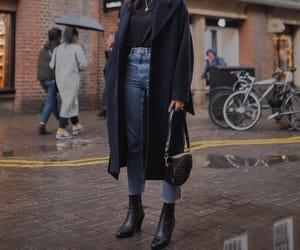 black boots, coat, and denim image