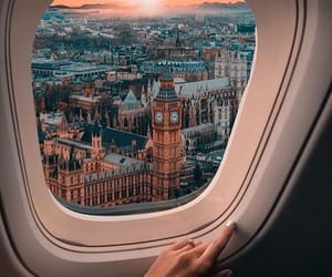 london, travel, and plane image