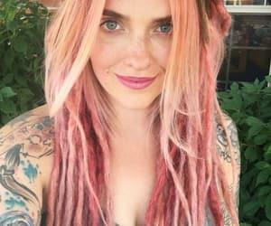 dreadlocks, hair, and pink image
