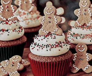 christmas, cupcakes, and gingerbread image