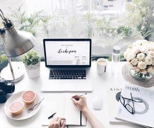 study, desk, and work image