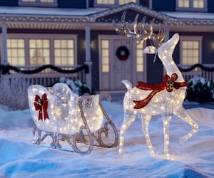 christmas, lights, and deer image