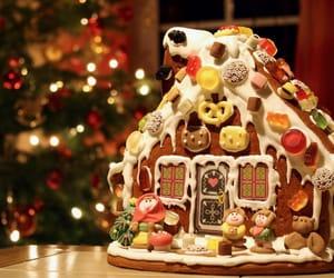 christmas, christmas tree, and gingerbread house image