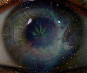 weed, eye, and marijuana image