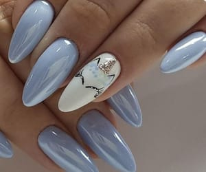 long nails, oval, and unicorn image