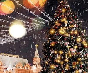 christmas tree, cities, and lights image