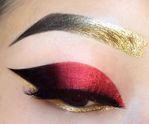 makeup, gold, and red image