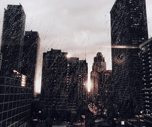 city, building, and rain image