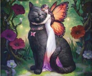 cat, art, and fairy image