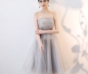 girl, strapless dress, and tulle dress image