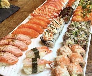 food, restaurant, and salmon image