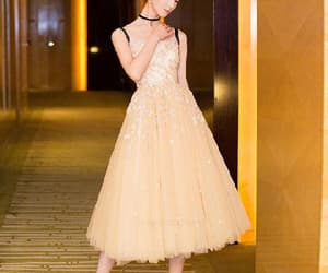 short prom dress, champagne evening dress, and cute evening dress image