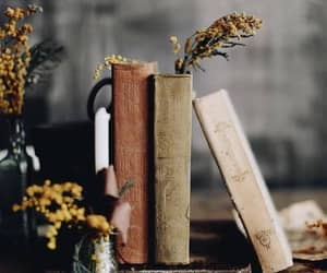 books, flowers, and sunflowers image