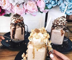 flowers, chocolate, and drink image
