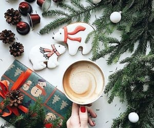 christmas, coffee, and gift image