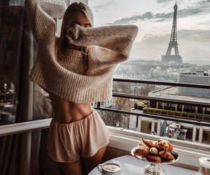 girl, paris, and breakfast image
