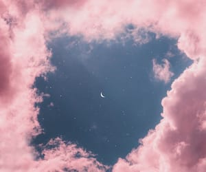sky, moon, and pink image