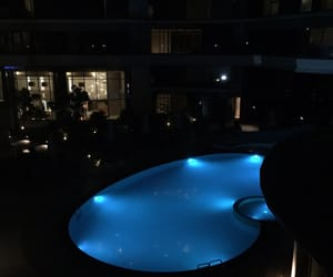pool, night, and blue image