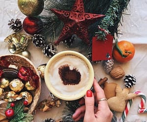 christmas, christmas tree, and coffee image