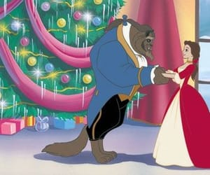 beauty and the beast, christmas, and disney image