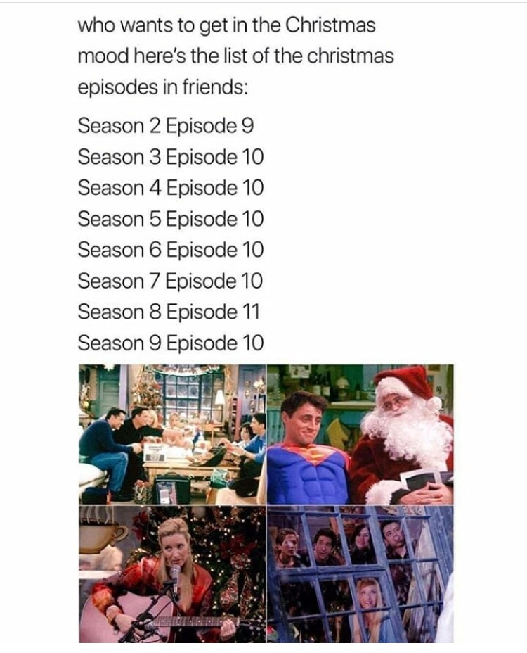Friends Christmas Episodes.Christmas Episodes In Friends Via Instagram
