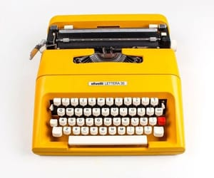 typewriter, yellow, and color aesthetic image
