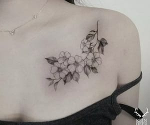 collarbone, flowers, and ink image
