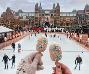 winter, ice skating, and holiday image