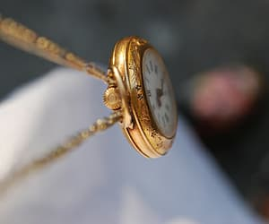 clock, gold, and pocket watch image